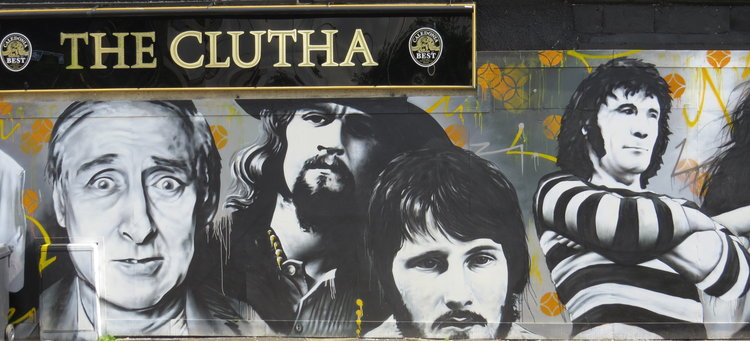 The Clutha mural: showing Glasgow's music heritage.